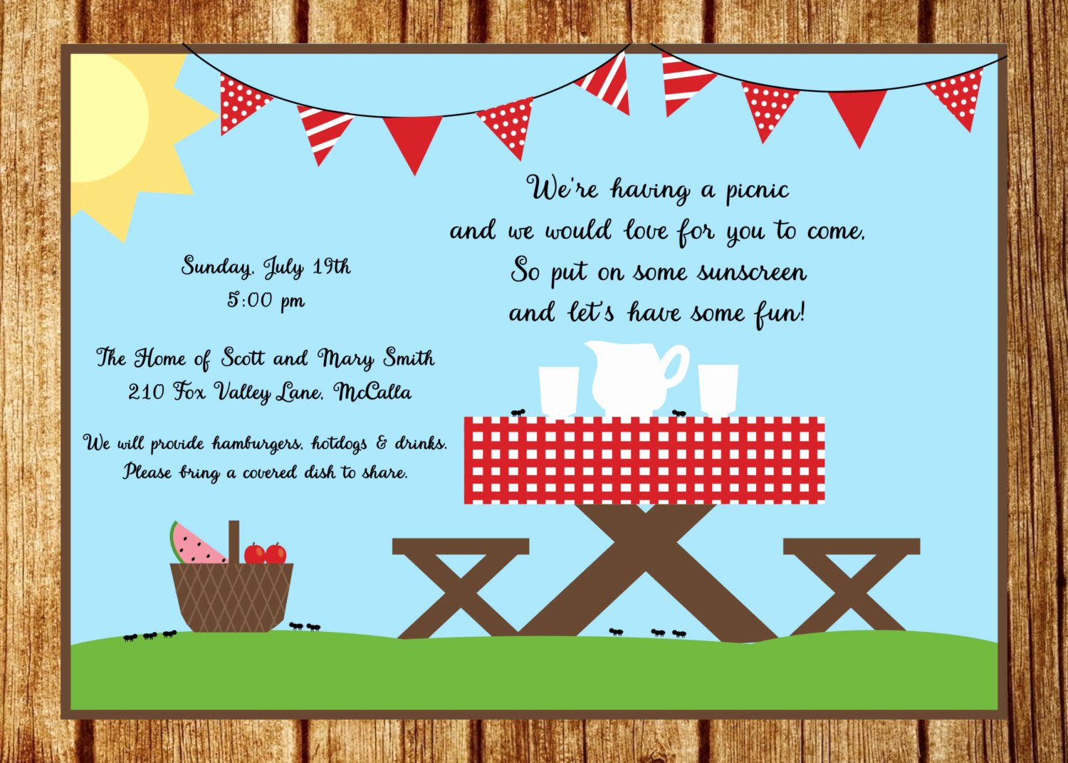 Picnic Invite Template Free Best Of Summer Picnic Invitation Summer Party Invitation Custom Park