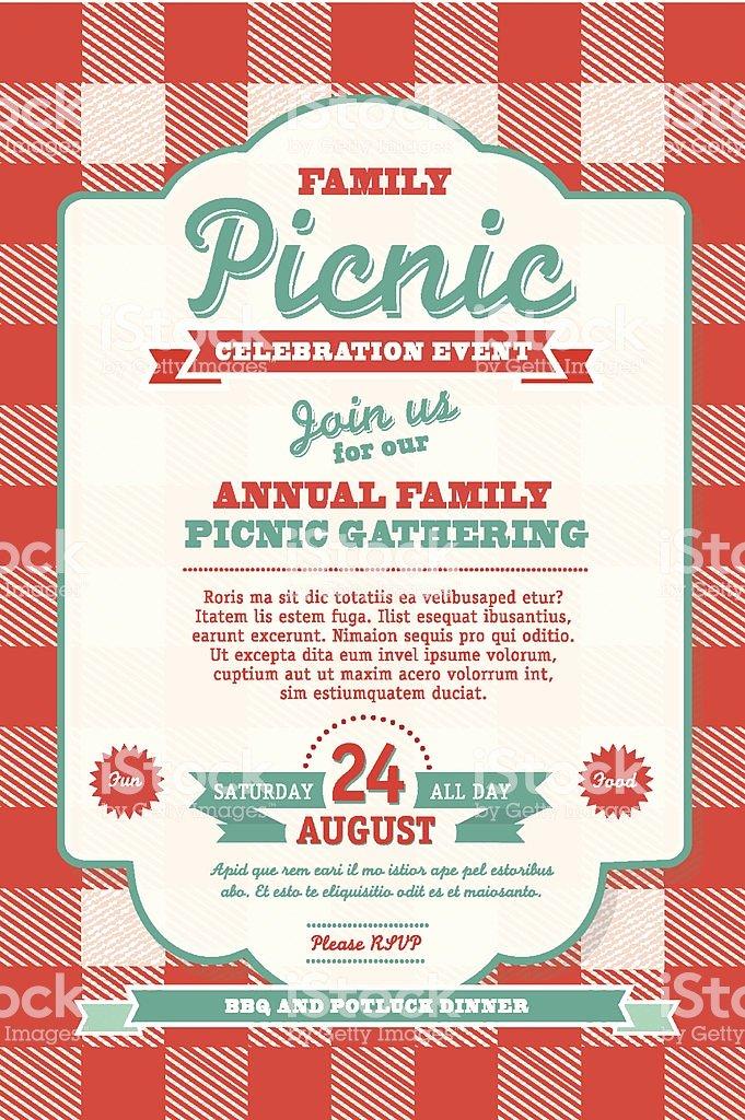 Picnic Invite Template Free Fresh Bbq Tablecloth Picnic Invitation Design Template Stock