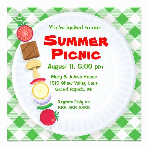 "Picnic Invite Template Free Inspirational Summer Picnic Invitation 5 25"" Square Invitation Card"