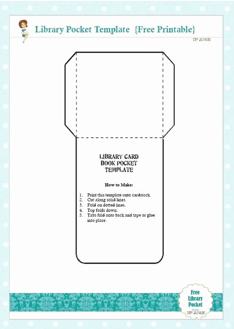 free library card book pocket template printable