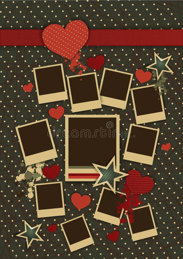 Picture Frame Collage Template Inspirational Vintage Collage Vector Frames with Hearts Stock