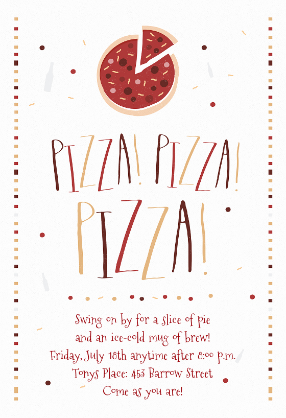 Pizza Party Invitation Template Awesome Pizza Party Invitation Template Free