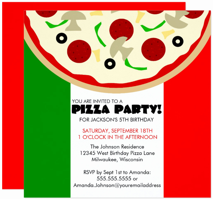 Pizza Party Invitation Template Beautiful 14 Pizza Party Invitation Designs & Templates Psd Ai