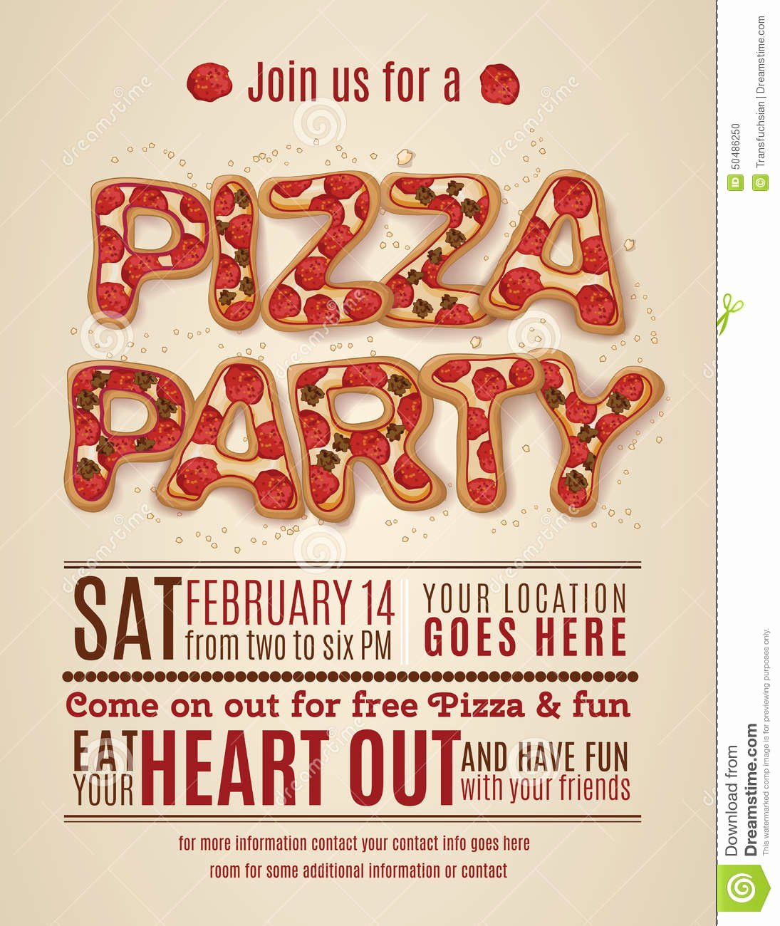 Pizza Party Invitation Template Beautiful 9 Best Of Free Printable Pizza Party Flyers Free