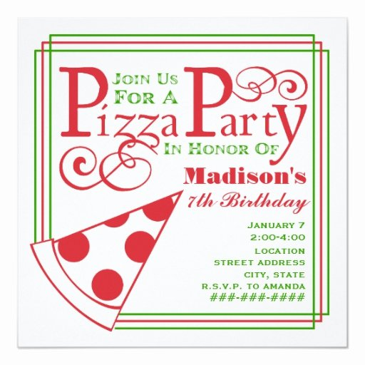 Pizza Party Invitation Template Inspirational Pizza Party Birthday Custom Invite