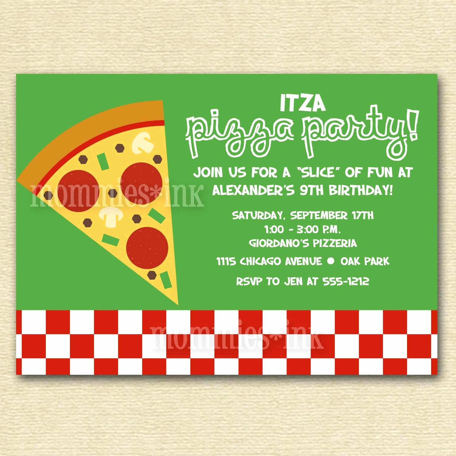 Pizza Party Invitation Template Luxury Pizza Party Invitations