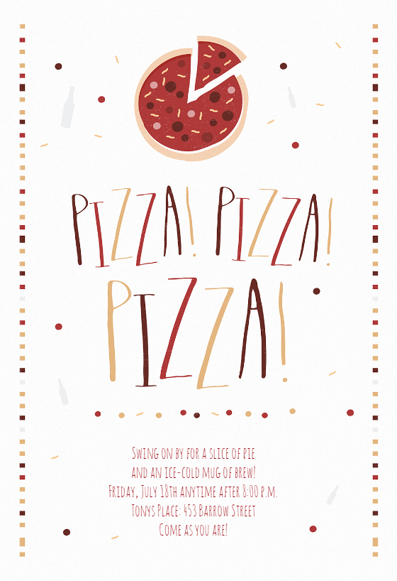 Pizza Party Invitation Template Luxury Pizza Pizza Pizza Free Party Invitation Template