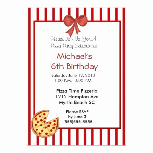 Pizza Party Invitation Template New Pizza Party Birthday Invitation