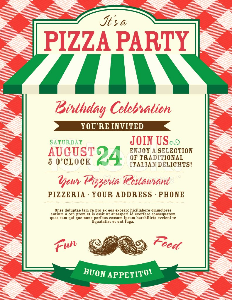 Pizza Party Invitation Template Unique Pizza and Birthday Party Invitation Design Template Stock