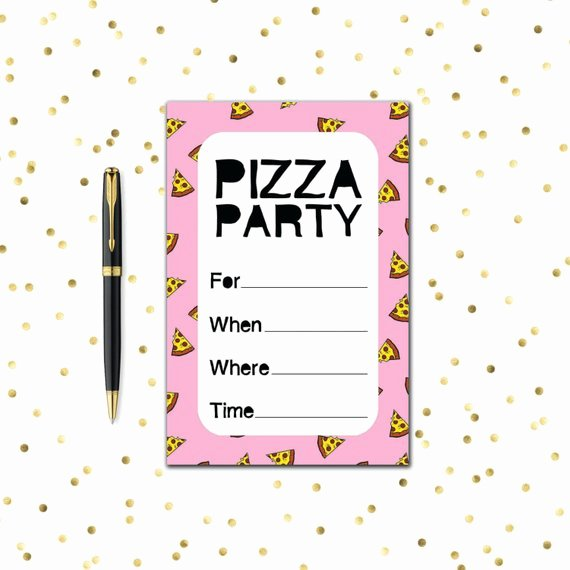 Pizza Party Invitations Template Awesome Printable Party Invitation Set Pizza Party Pink Purple