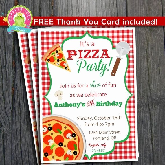 Pizza Party Invitations Template Luxury Pizza Party Invitation Free Thank You Card Included