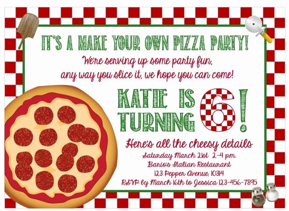 Pizza Party Invitations Template Unique Print at Home Make Your Own Pizza Party