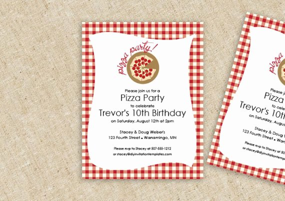 Pizza Party Invite Template Awesome Pizza Birthday Party Invitation Template by Loveandpartypaper