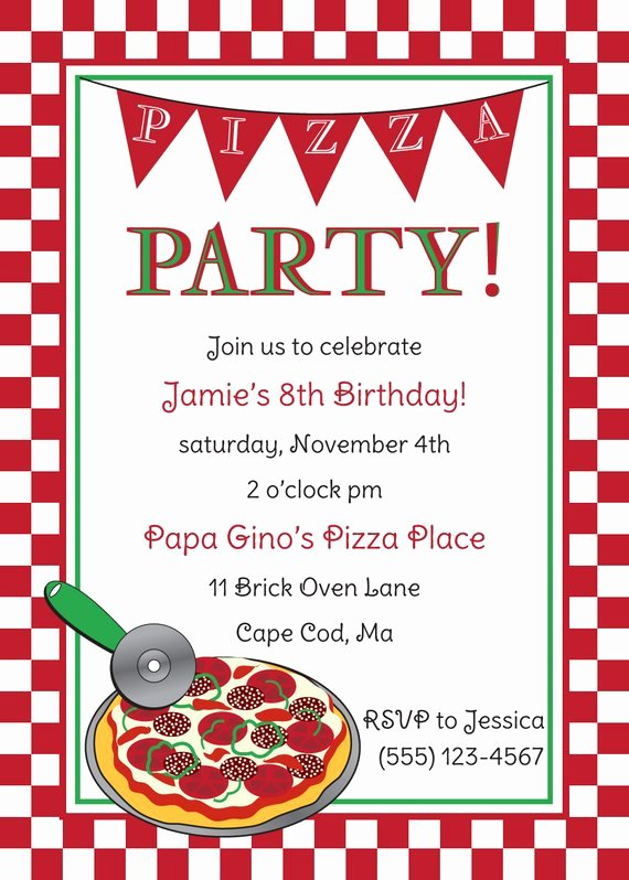 Pizza Party Invite Template Awesome Pizza Party Birthday Invitation by Anchorbluedesign On Etsy