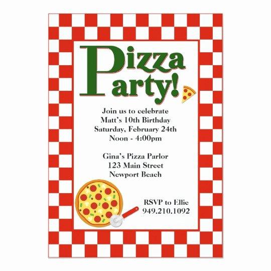 Pizza Party Invite Template Beautiful Pizza Party Birthday Invitation