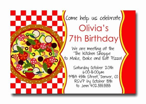 Pizza Party Invite Template Elegant Custom Pizza Party Red Checker Birthday Party Invitation Card