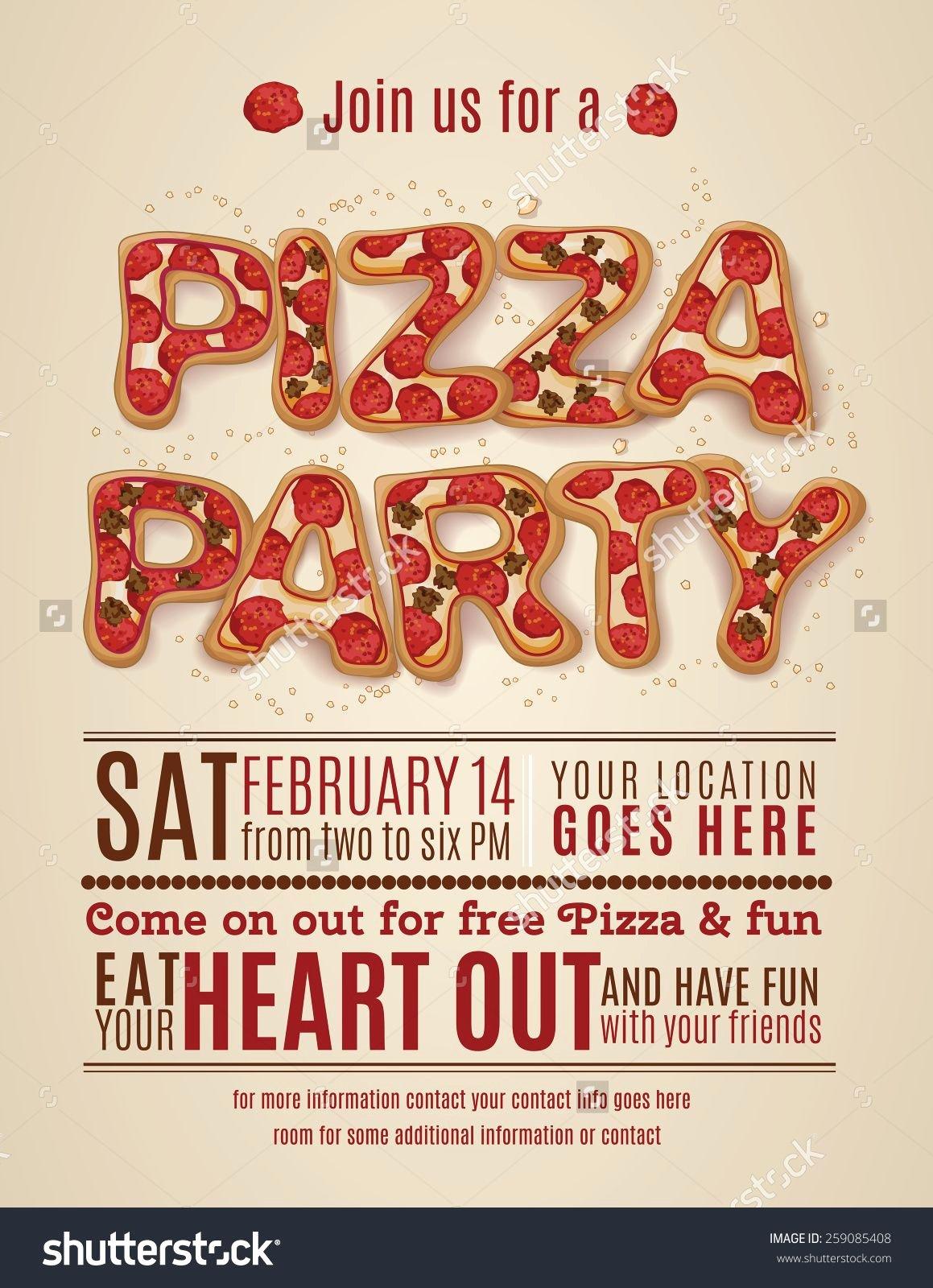 Pizza Party Invite Template Elegant Pizza Party Invitation Template Free Invitation