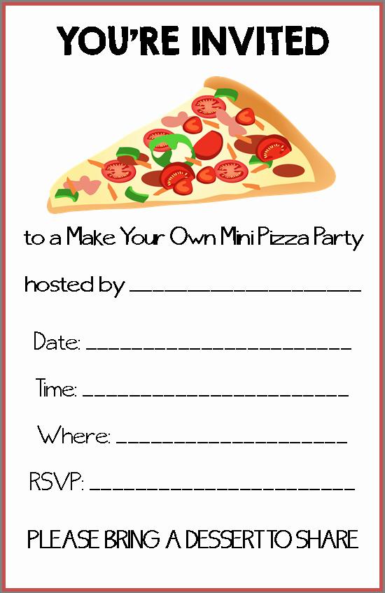 Pizza Party Invite Template Elegant Pizza Party Invitations Free