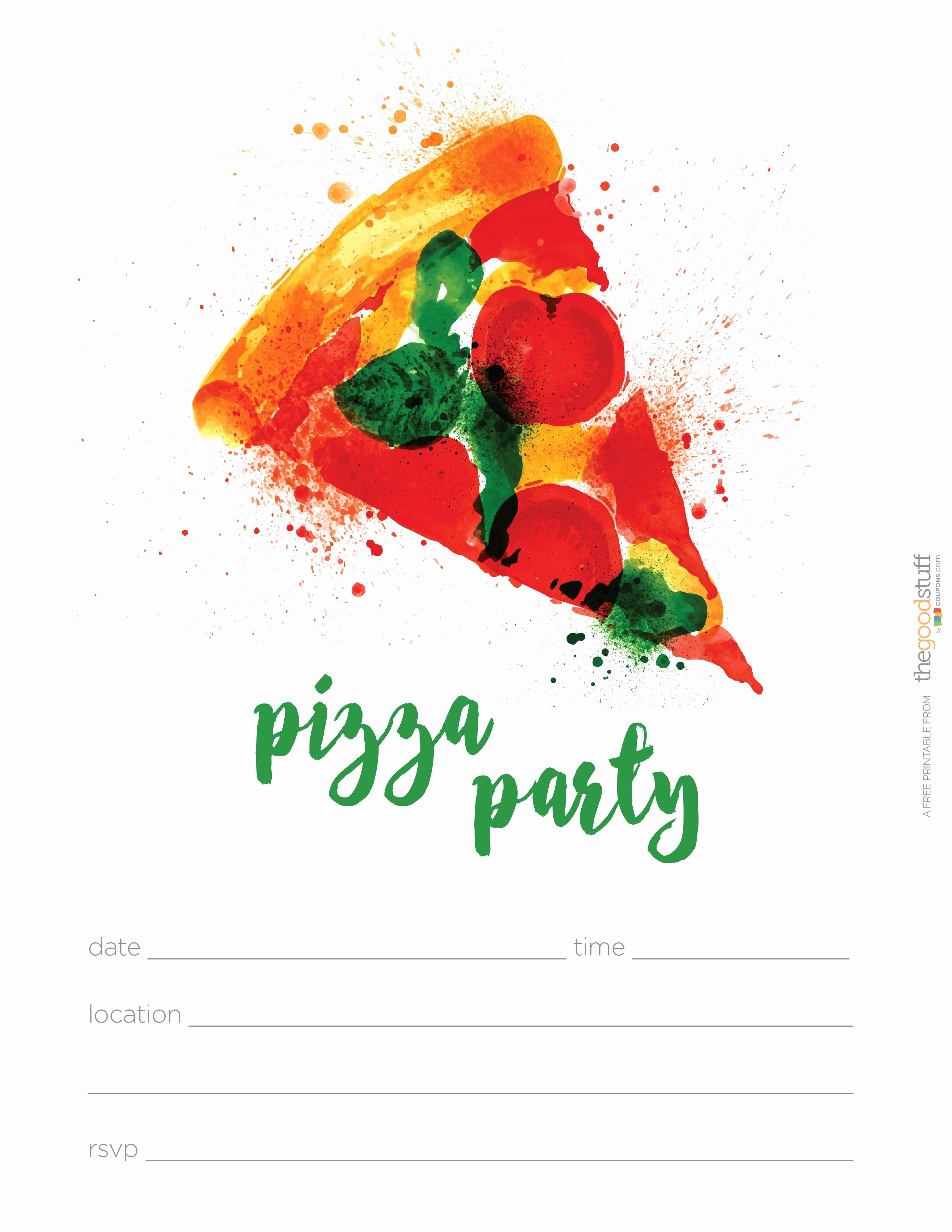 Pizza Party Invite Template Inspirational Pizza Party Invitations