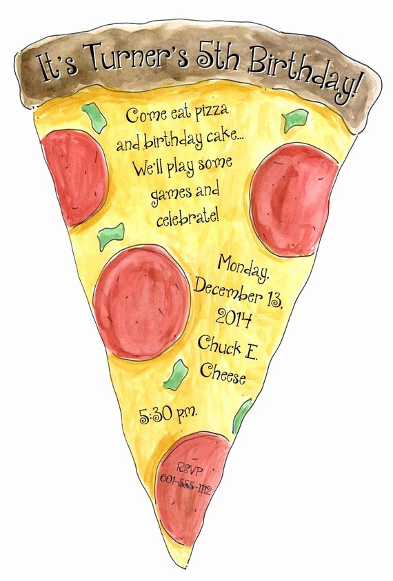 Pizza Party Invite Template Lovely Items Similar to Pizza Slice Party Invitation 5 5inx8 5in