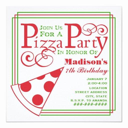 Pizza Party Invite Template New Pizza Party Birthday Custom Invite