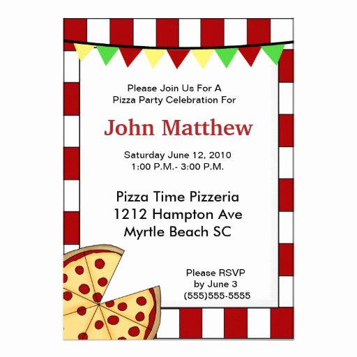 Pizza Party Invite Template New Pizza Party Birthday Invitation
