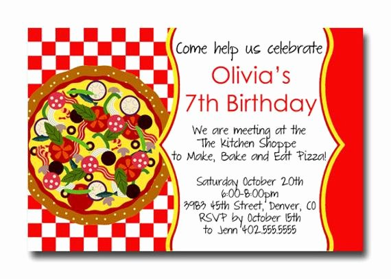 Pizza Party Invites Template Awesome Custom Pizza Party Red Checker Birthday Party Invitation Card