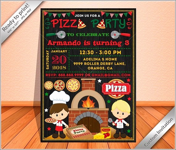 Pizza Party Invites Template Beautiful 14 Pizza Party Invitation Designs & Templates Psd Ai