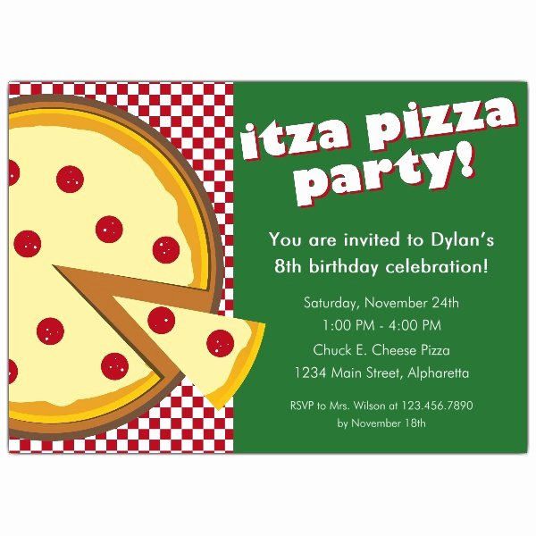 Pizza Party Invites Template Beautiful Itza Pizza Party Invitations