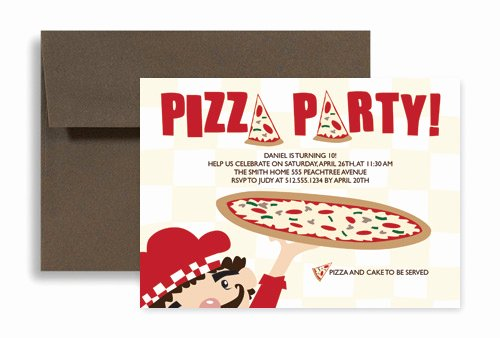 Pizza Party Invites Template Beautiful Pizza Party Video Game Birthday Invitation Design 7x5 In