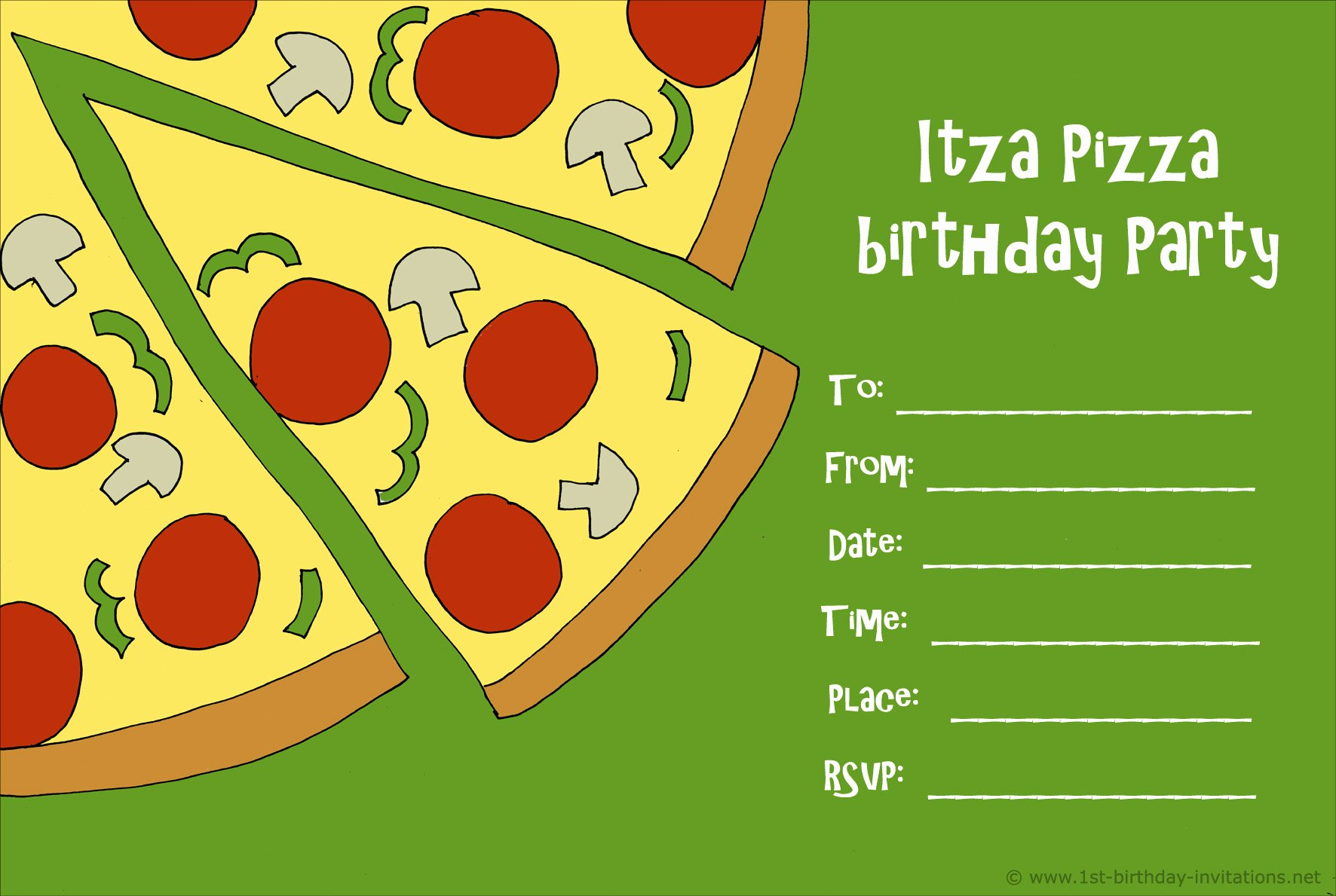 Pizza Party Invites Template Best Of 14 Printable Birthday Invitations Many Fun themes
