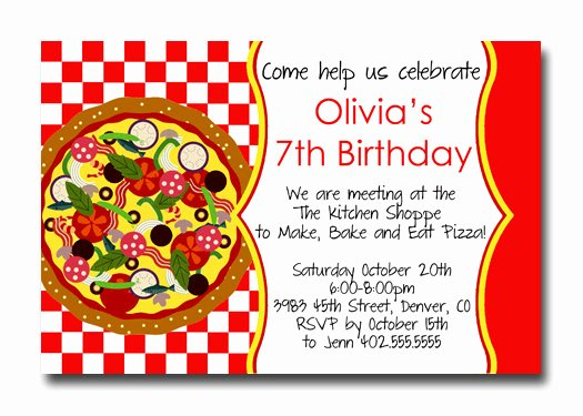 Pizza Party Invites Template Fresh Pizza Party Birthday Invitations