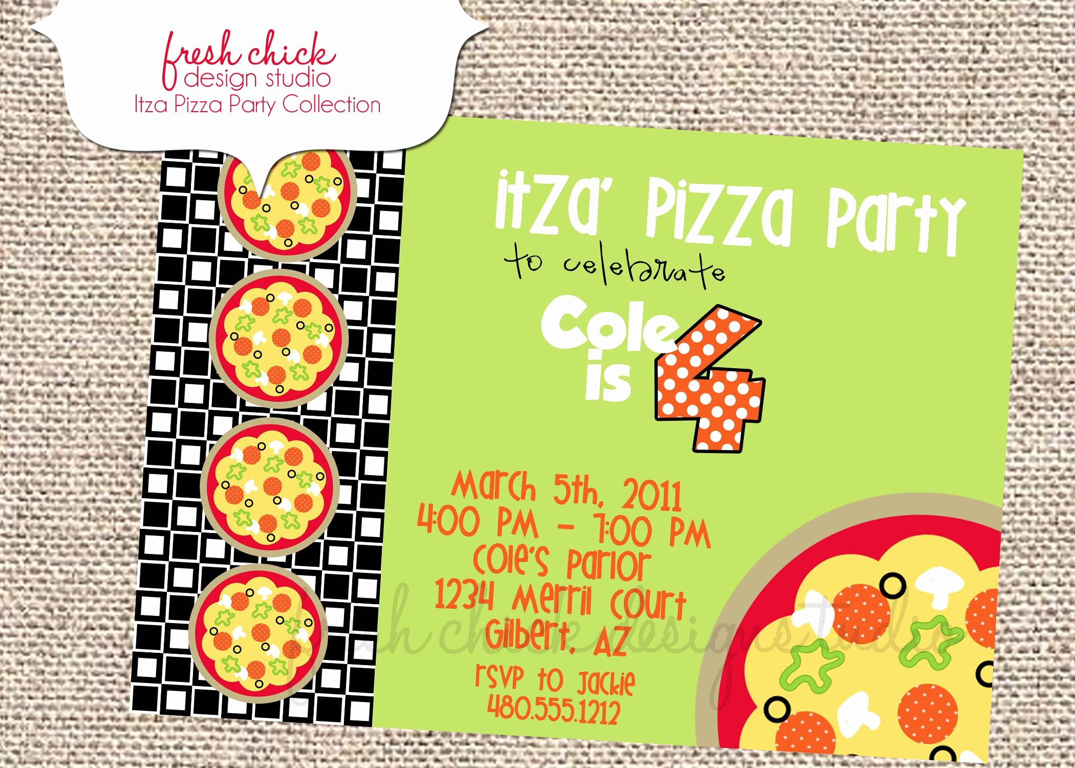 Pizza Party Invites Template Fresh Pizza Party Invitations