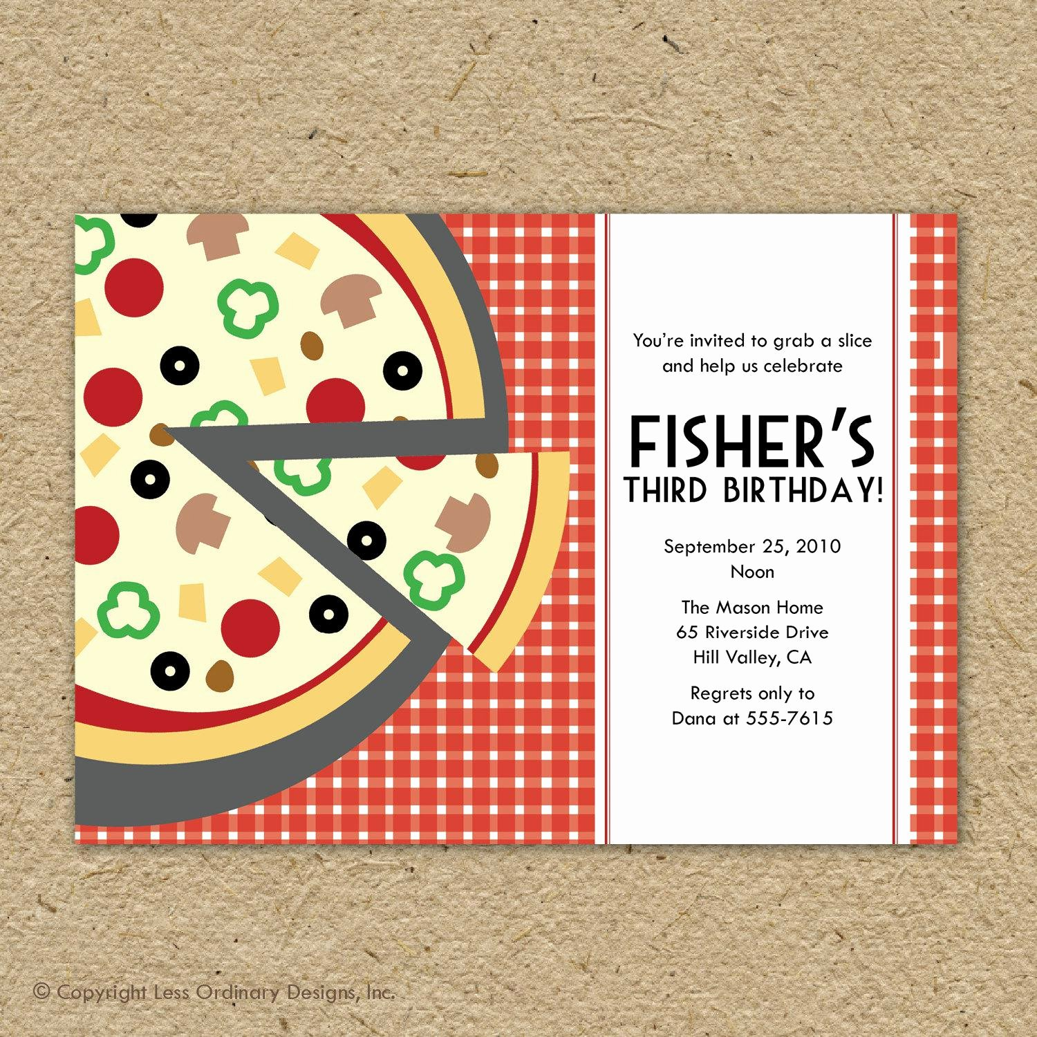 Pizza Party Invites Template Luxury Pizza Party Invitations