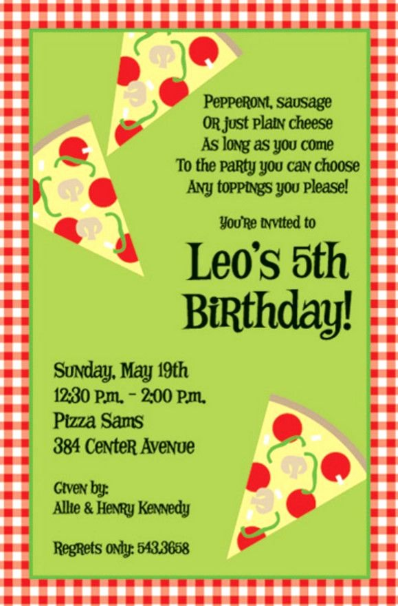Pizza Party Invites Template New Pizza Birthday Party Invitation Wording