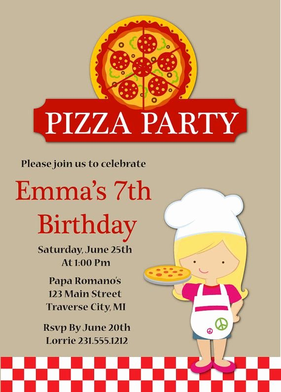 Pizza Party Invites Template New Pizza Party Birthday Invitations