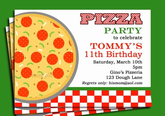 Pizza Party Invites Template Unique Pizza Party Invitation Printable or Printed with Free Shipping