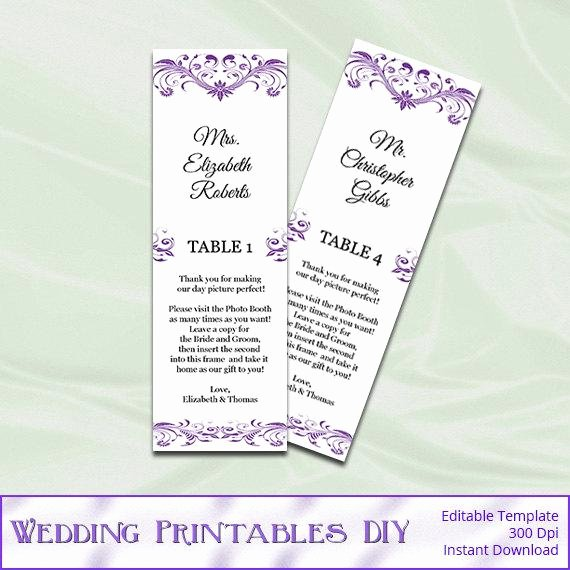 Place Card Template Wedding Beautiful Purple Booth Wedding Place Cards Template Diy Printable