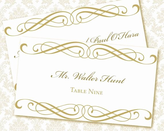 Place Card Template Wedding Elegant 9 Best Of Printable Wedding Place Card Templates