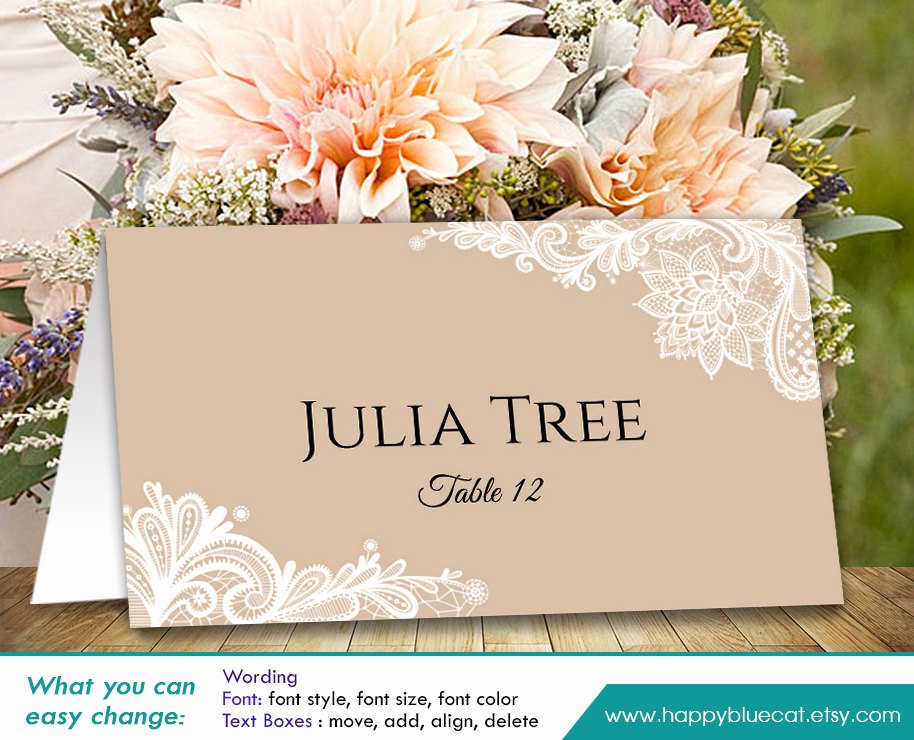 Place Card Template Wedding Lovely Diy Printable Wedding Place Card Template Instant Download