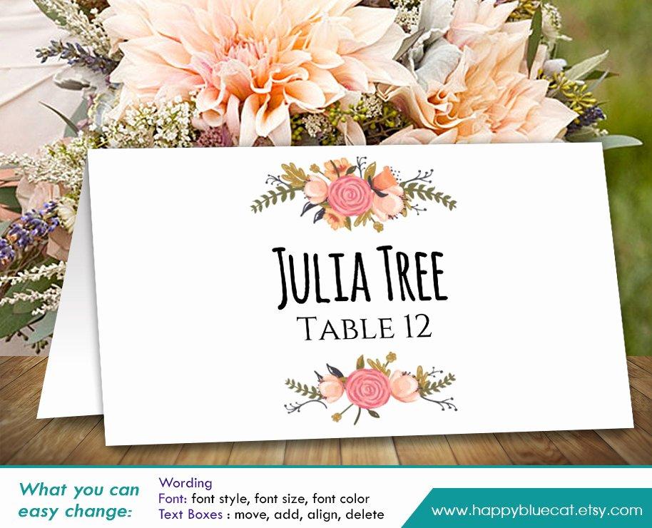 Place Cards Template Wedding Inspirational Diy Printable Wedding Place Card Template Instant Download