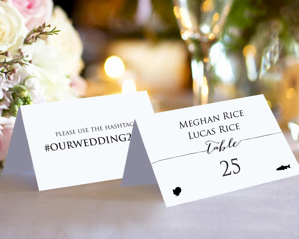 Place Cards Template Wedding Luxury Double Sided Place Cards with Meal Options · Wedding
