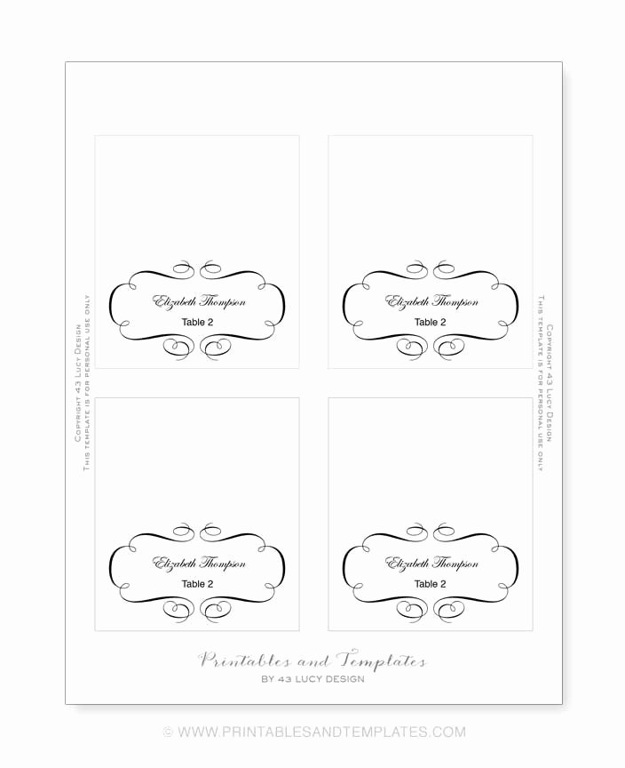 Place Cards Template Wedding New 10 Best Of Place Card Template Printable