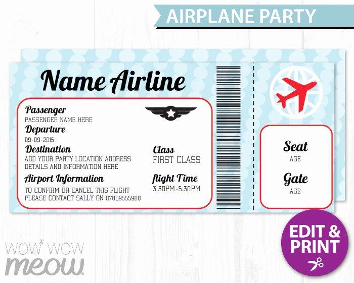 Plane Ticket Template Pdf New Airplane Ticket Invite Aeroplane Passport Invitation Pilot Fun