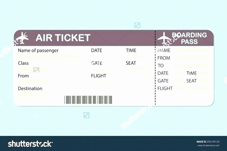 Plane Ticket Template Pdf New Editable Airline Tickets Role Play Free Early Years Fake