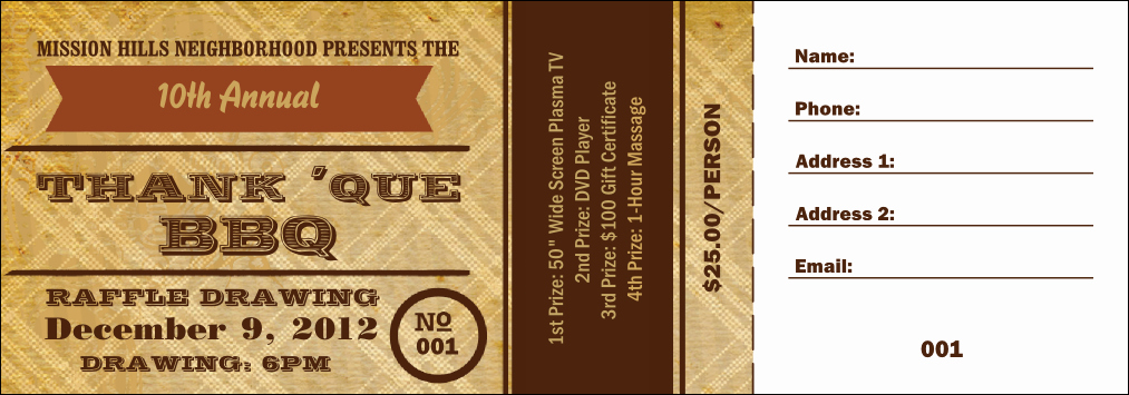 Plate Sale Tickets Template Awesome Barbecue Ticket Template Bbq Plate Ticket Template