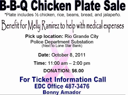 Plate Sale Tickets Template Fresh Bbq Chicken Plate Sale October 8 2011 Benefit for Melly
