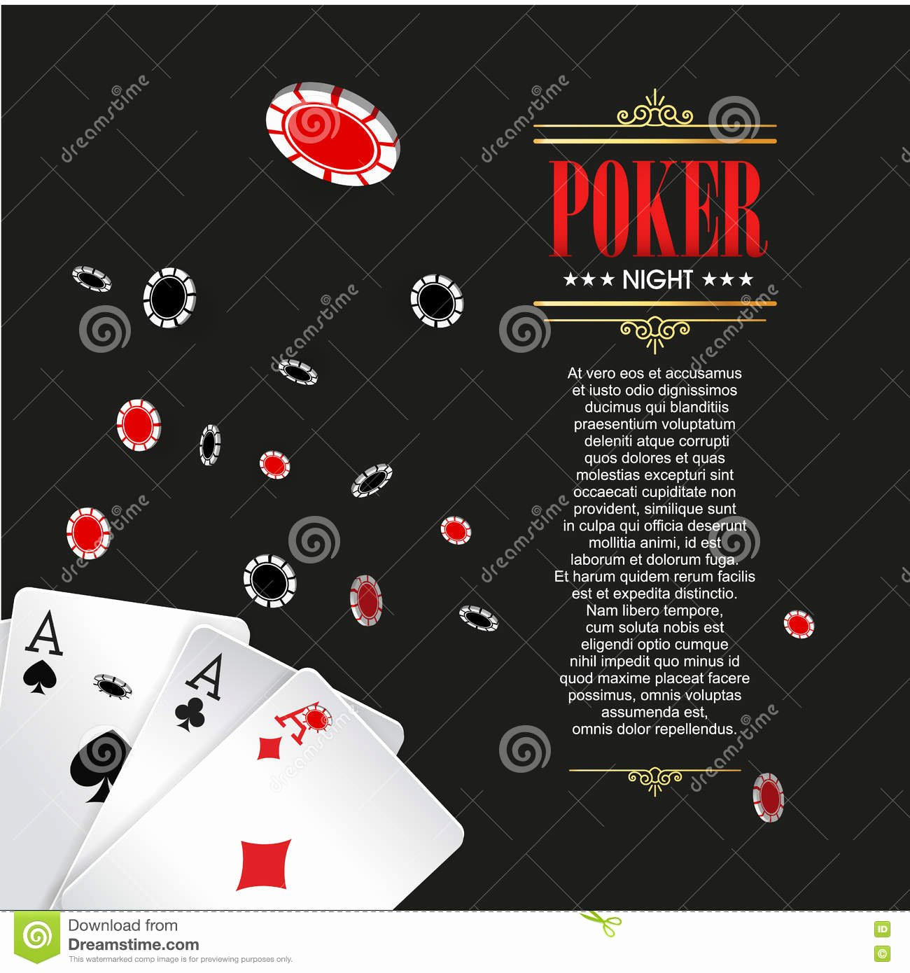 Playing Card Design Template Lovely Casino Poker Poster Banner Background Flyer Template