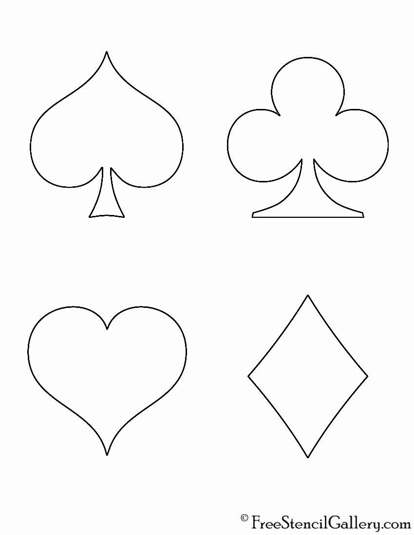 Playing Card Size Template Lovely Playing Card Suits Stencil