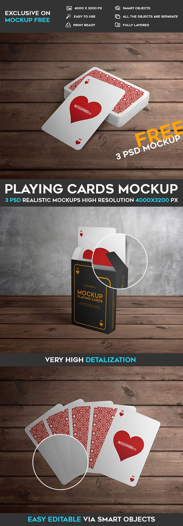 Playing Cards 3 Free PSD Mockups